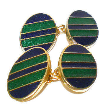 ENAMEL-BLUE&GREEN Stripes